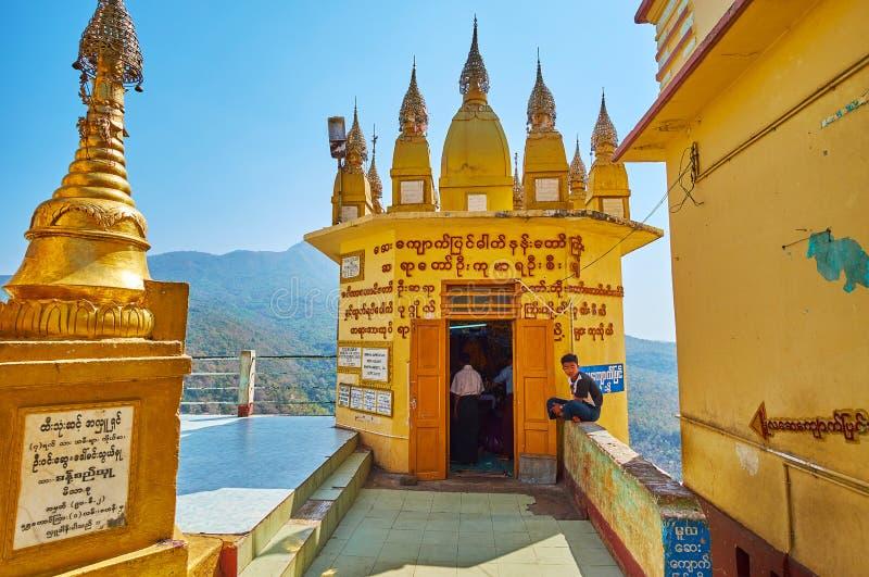 波帕岛塔翁Kalat修道院,缅甸奉献的寺庙  免版税图库摄影