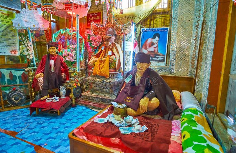 波帕岛塔翁Kalat修道院,缅甸小nat寺庙  图库摄影