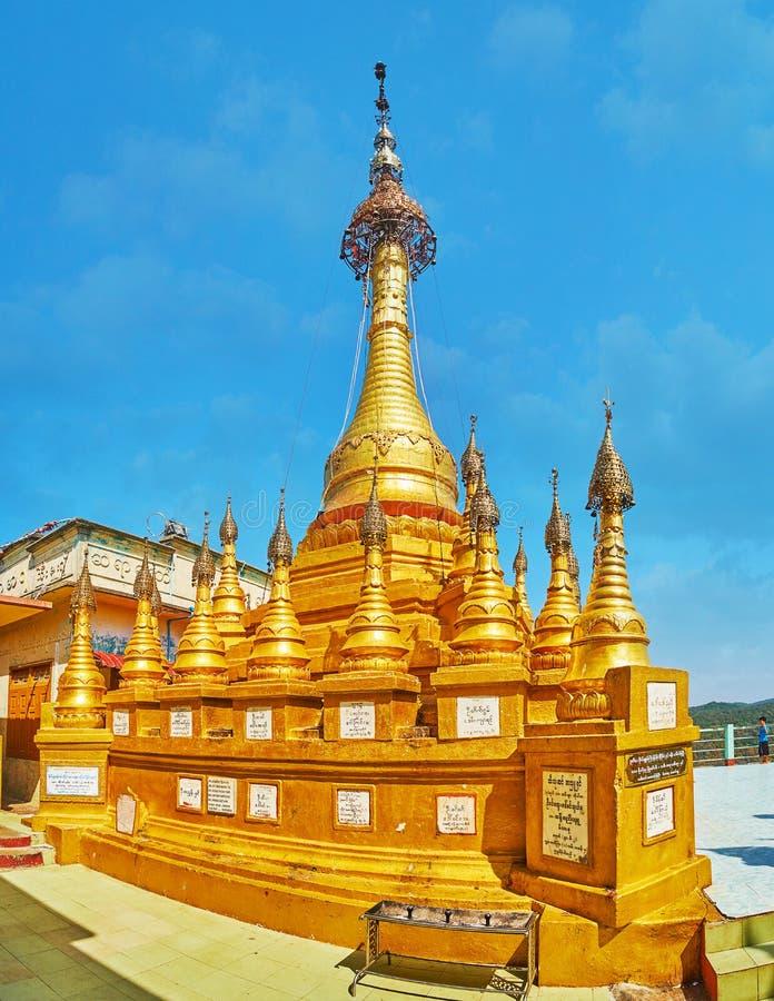 波帕岛塔翁Kalat修道院,缅甸金黄塔  图库摄影