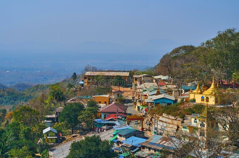 波帕岛,缅甸住房  库存照片