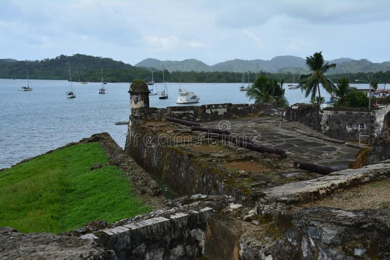 波托韦洛堡垒在巴拿马,冒号省  库存图片