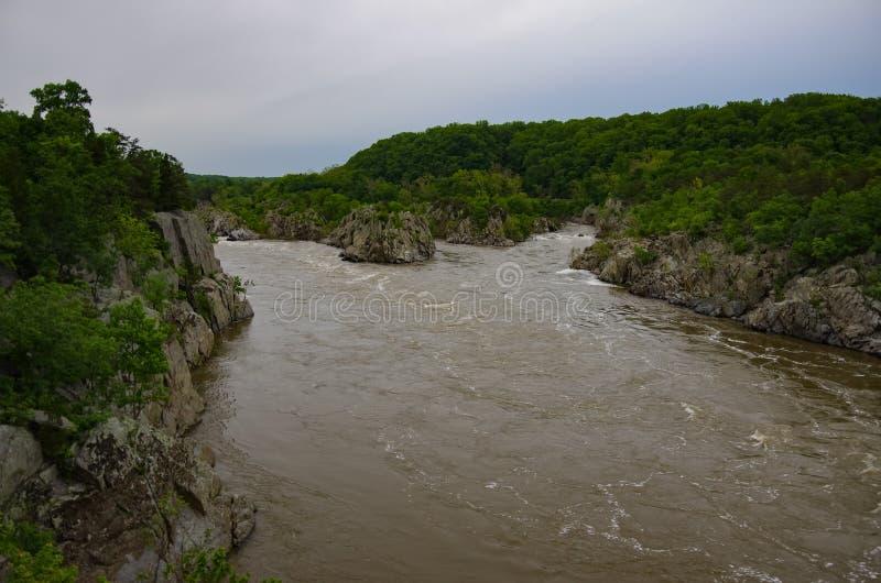 波托马克河,大瀑布州立公园,弗吉尼亚 免版税库存图片