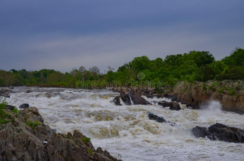 波托马克河,大瀑布州立公园,弗吉尼亚 免版税图库摄影