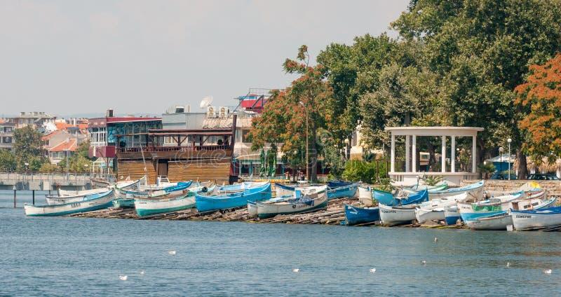 波摩莱,保加利亚的奎伊在海边的 免版税库存图片