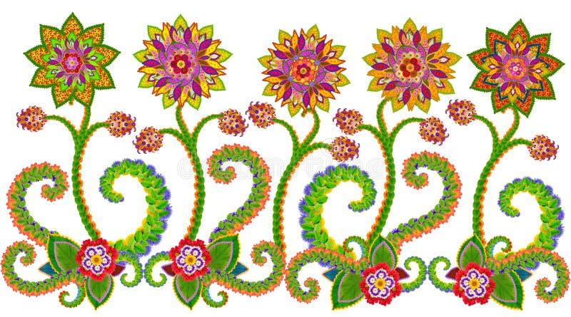 波斯地毯花卉边界 免版税库存照片