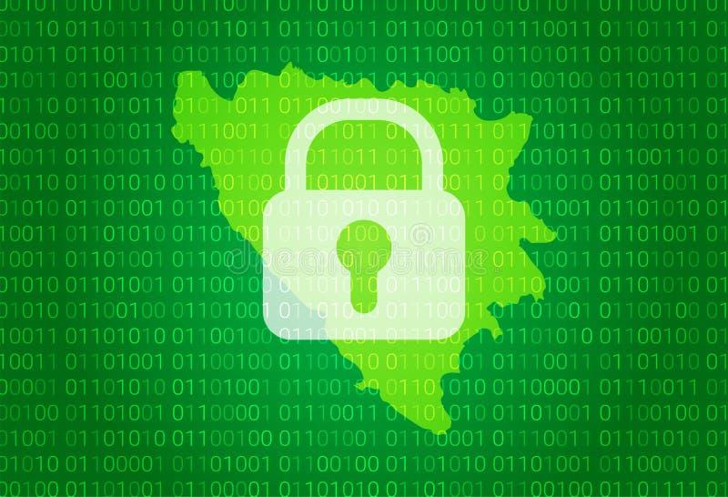 波斯尼亚黑塞哥维那的地图 例证有锁和二进制编码背景 阻拦的互联网,病毒,保密性 皇族释放例证