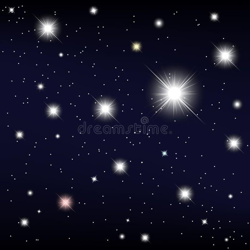 波斯菊。在夜空的星。传染媒介例证 皇族释放例证