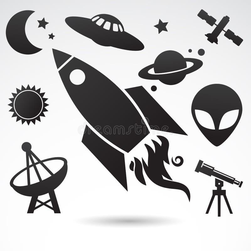 波斯菊和宇宙的传统标志 向量例证