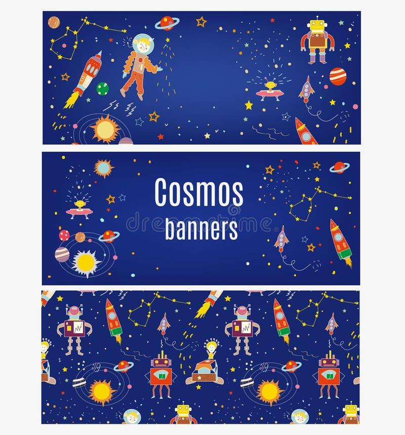 波斯菊横幅为与太空飞船, austronaut,星,行星的孩子设置了 也corel凹道例证向量 皇族释放例证