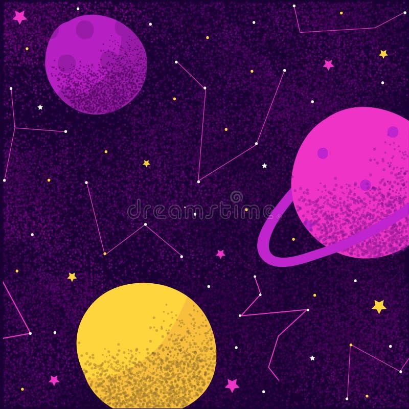 波斯菊空间星系行星和星宇宙的银河星座 皇族释放例证