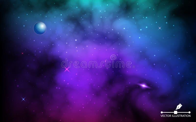 波斯菊背景 与行星和发光的星的五颜六色的星系 与银河的空间现实背景和的stardust 皇族释放例证