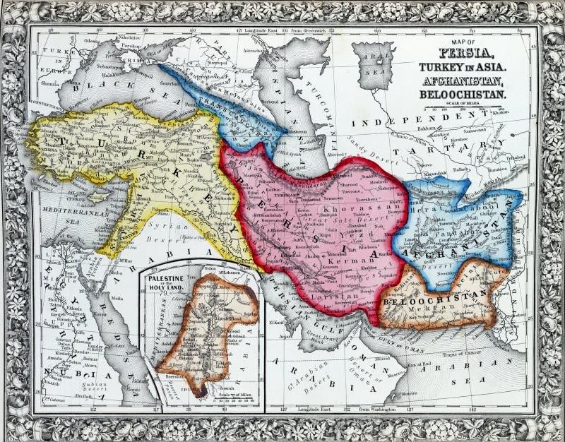 波斯,土耳其古色古香的地图在亚洲。 皇族释放例证
