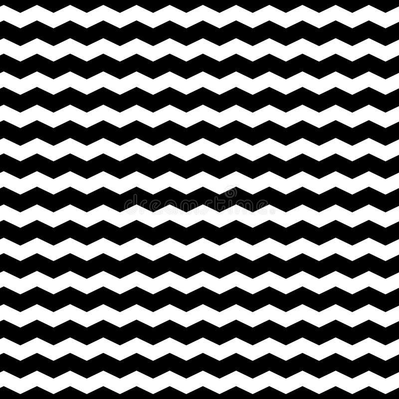 波浪之字形排行无缝的样式 被变形的线纹理 向量例证