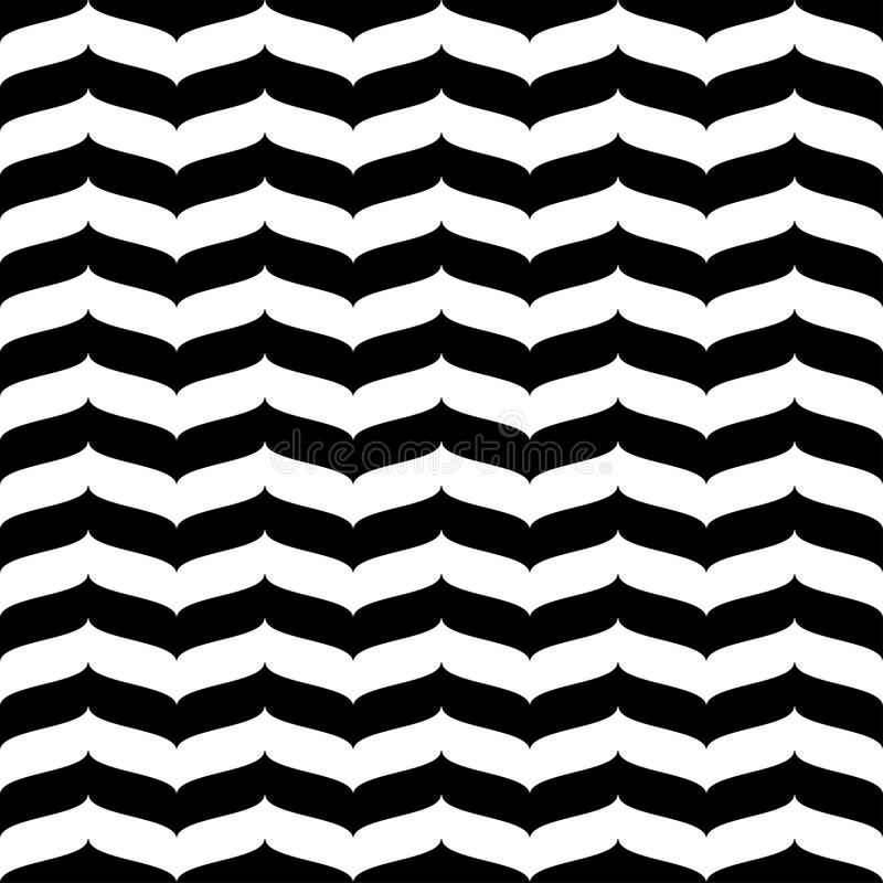 波浪之字形无缝的样式白色和黑3d 向量例证