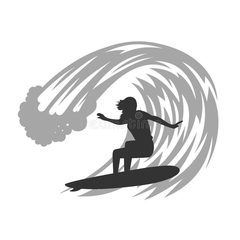 波浪例证的冲浪者 向量例证