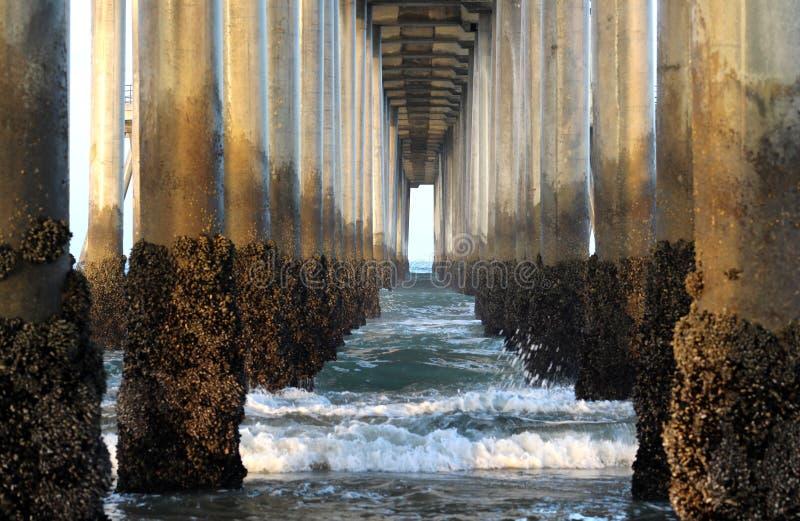 波浪和专栏在日出在码头下,亨廷顿海滩,南加州 免版税库存照片