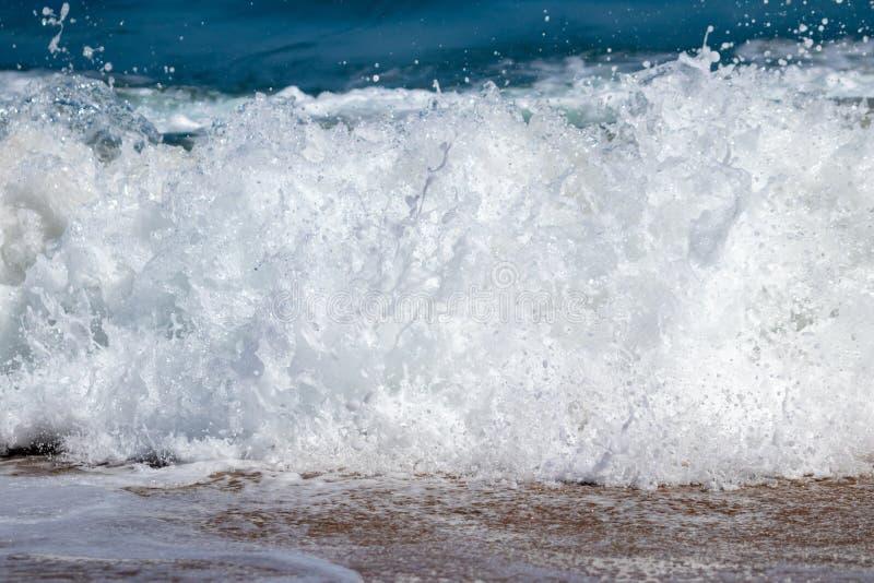 波浪和波浪行动的周密研究在Pouawa海滩,在吉斯伯恩附近,新西兰 免版税库存照片