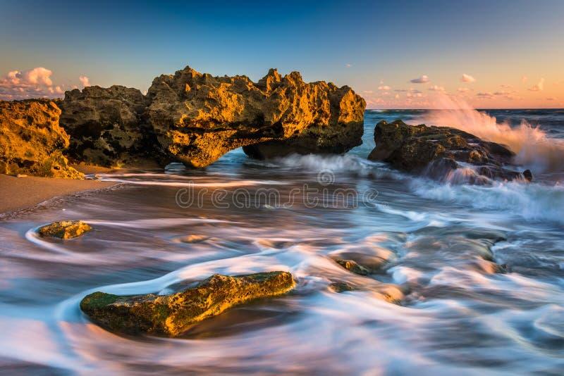 波浪和珊瑚在日出在大西洋珊瑚小海湾的P 库存照片