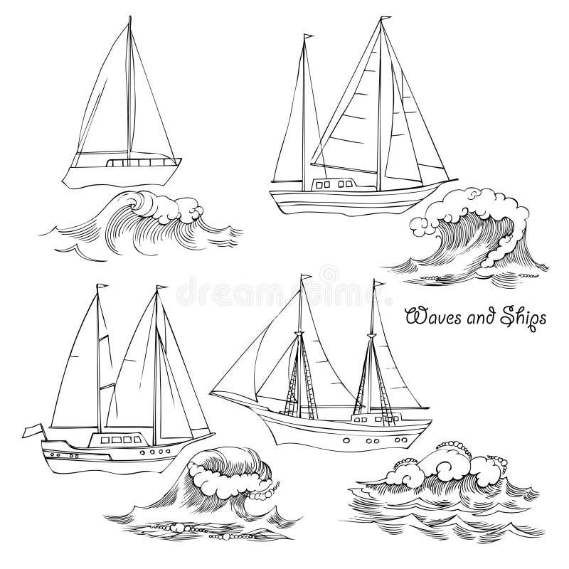 波浪和船 设置草图 向量例证