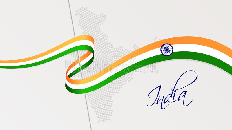波浪国旗和辐形加点了印度的半音地图 库存例证