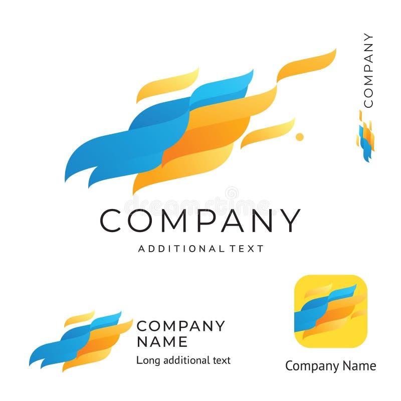 波浪形状抽象商标设计现代干净的身分品牌和App象商业标志概念集合模板 向量例证
