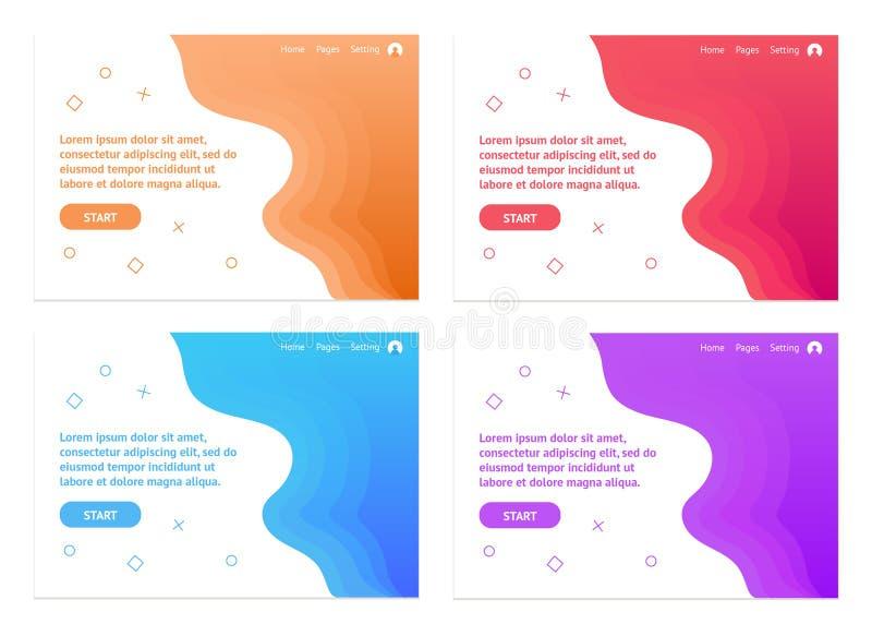 波浪或抽象背景横幅或介绍设计模板的 库存例证