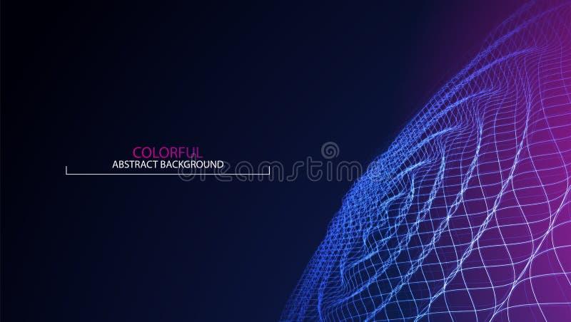 波浪抽象五颜六色的背景 3d网格 大数据 未来派 向量例证
