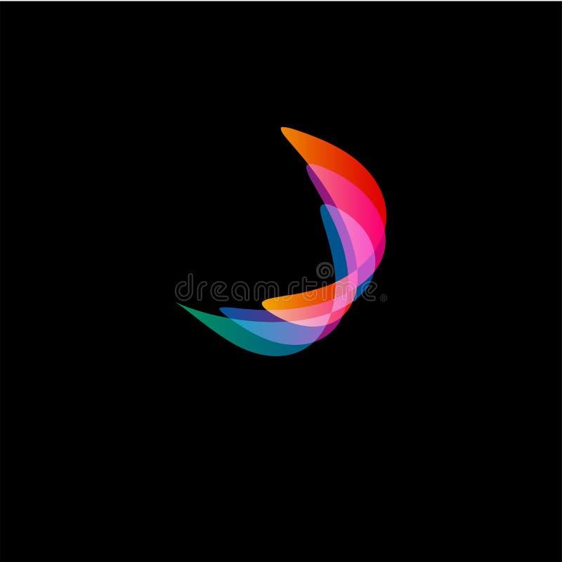 波浪抽象传染媒介商标 光滑的梯度和五颜六色的宇宙和高技术卵形形状 库存例证