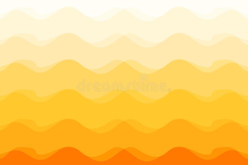 波浪抽象橙色背景阳光传染媒介例证 皇族释放例证