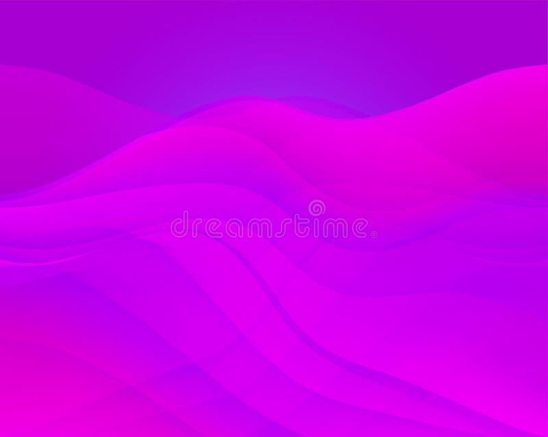 波浪抽象的背景 设计的五颜六色的焕发梯度表面 向量例证