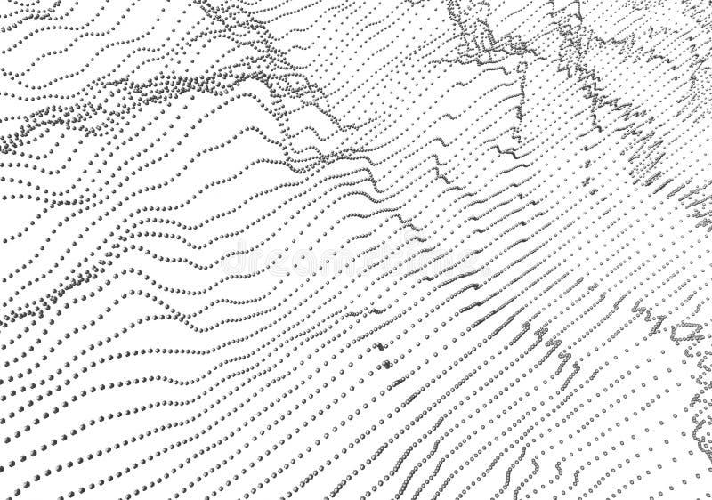 波浪抽象3D翻译与微粒的 库存例证