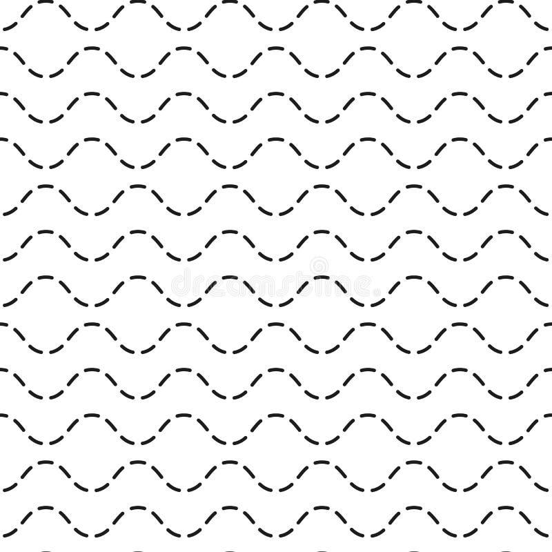 波浪无缝的样式 黑白不尽的波浪背景 EPS 10?? 库存例证