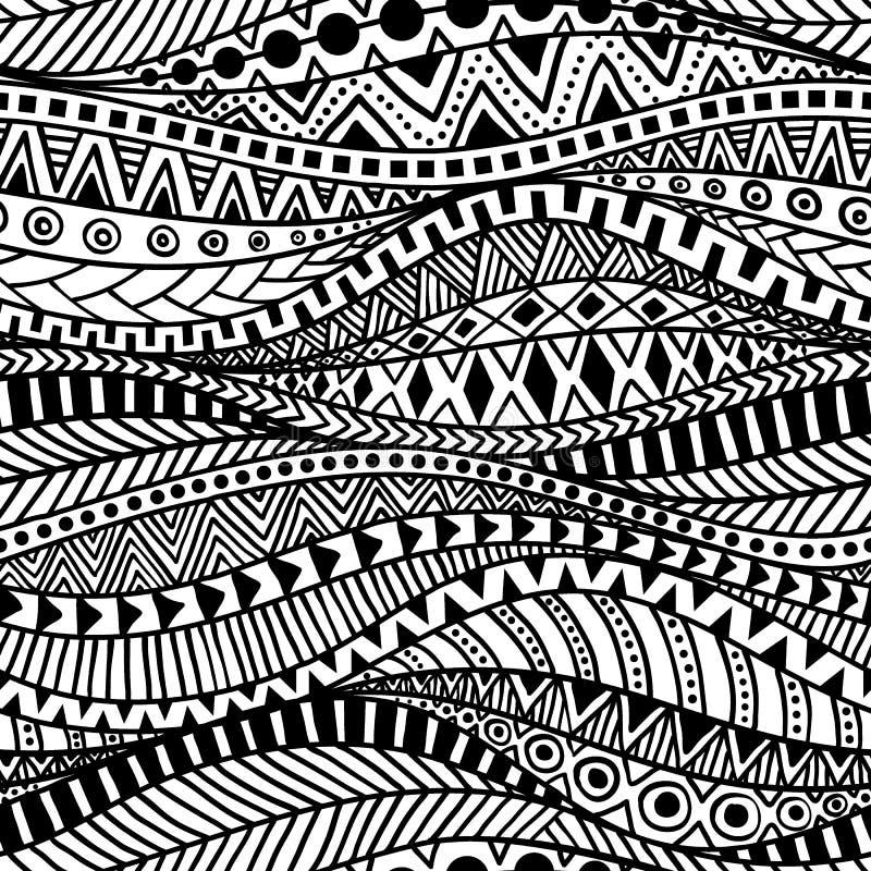 波浪无缝的种族样式 纺织品的黑白印刷品 向量例证