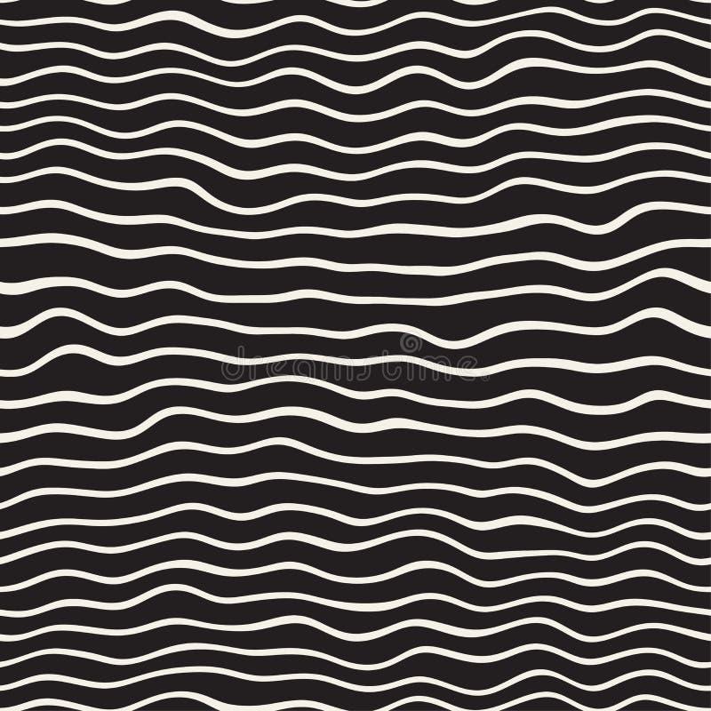 波浪波纹手拉的线 抽象几何背景设计 模式无缝的向量 库存例证