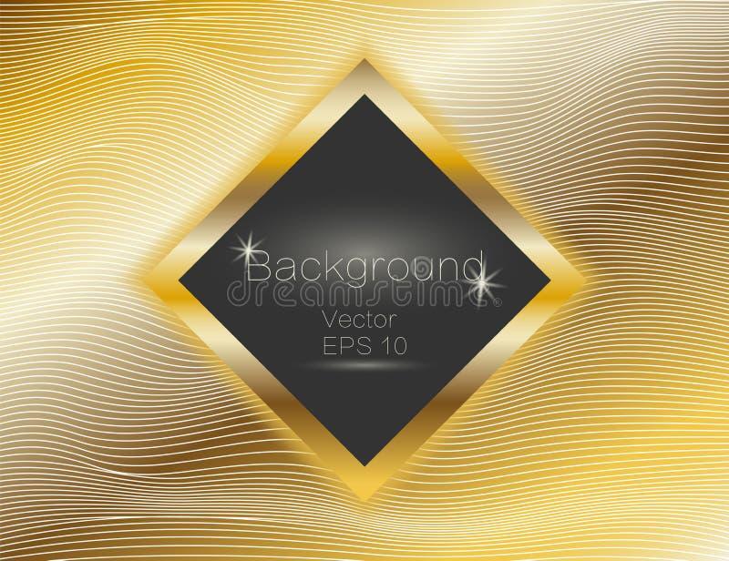 波浪的金子,线豪华 传染媒介纹理金条纹背景,与黑暗的方形的板材 小条的绕 长方形 库存例证