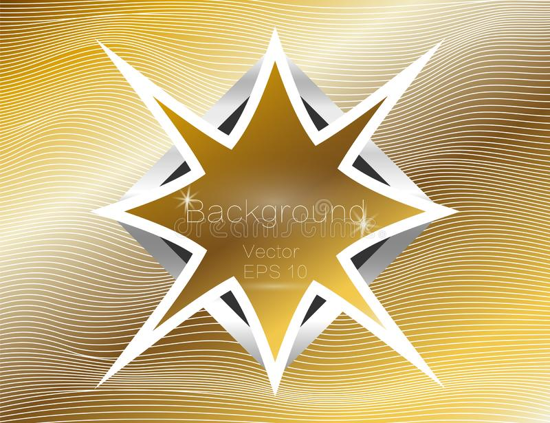 波浪的金子,线豪华 金条纹背景传染媒介纹理,与黑暗的星状板材 小条的绕 库存例证