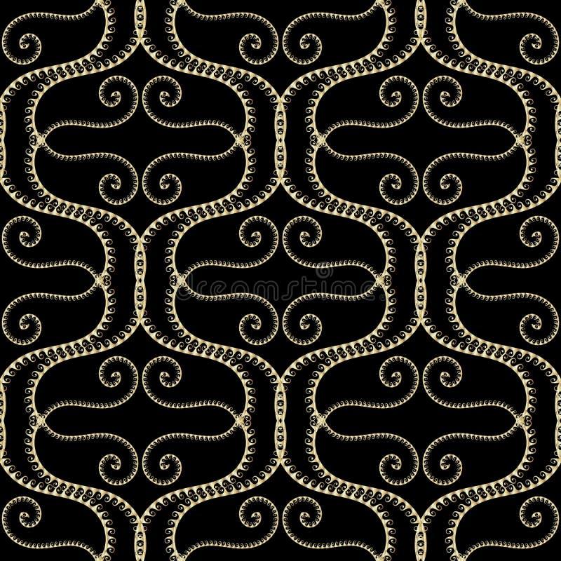 波浪线高雅传染媒介希腊无缝的样式 古老种族样式美好的装饰背景 金波浪,线,曲线 库存例证