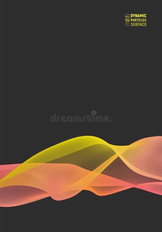 波浪表面背景 抽象向量例证 3D技术样式 向量例证