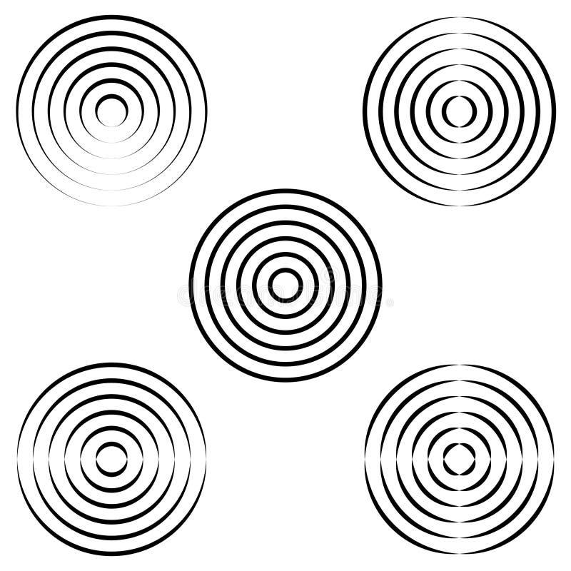 波浪,传染媒介无线电波集合圈子在水的与一个书法概述的一个圆环 库存例证