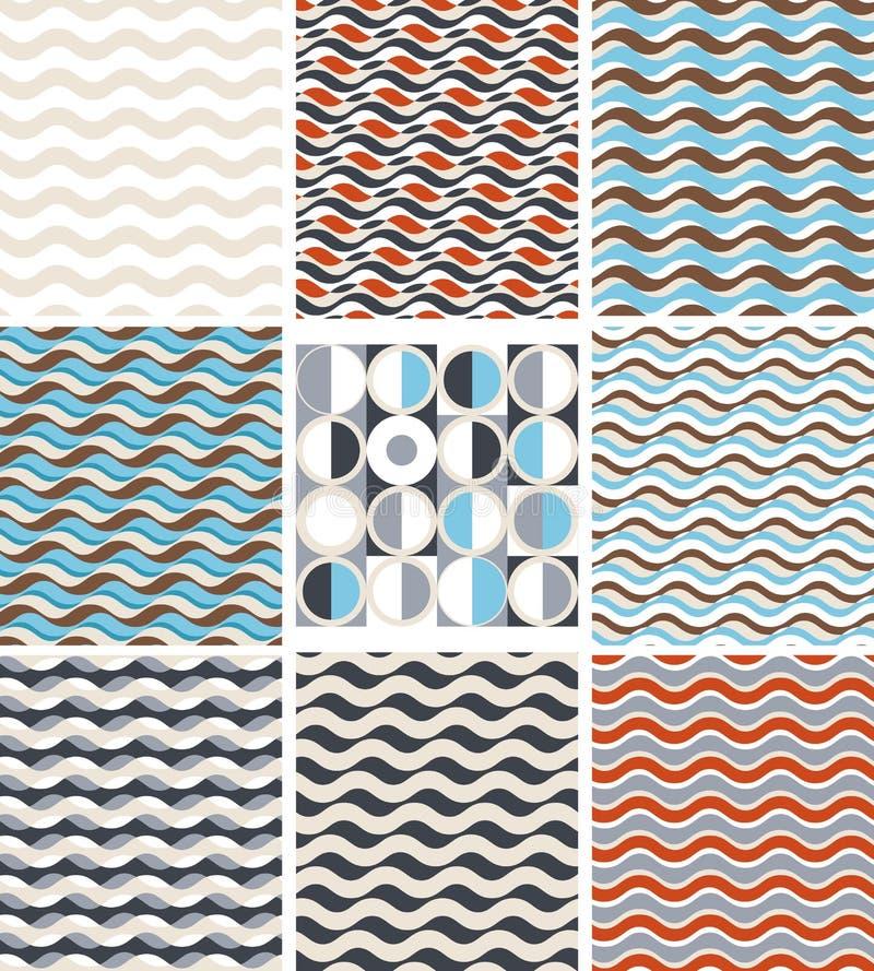 波浪-套几何无缝的样式 向量例证