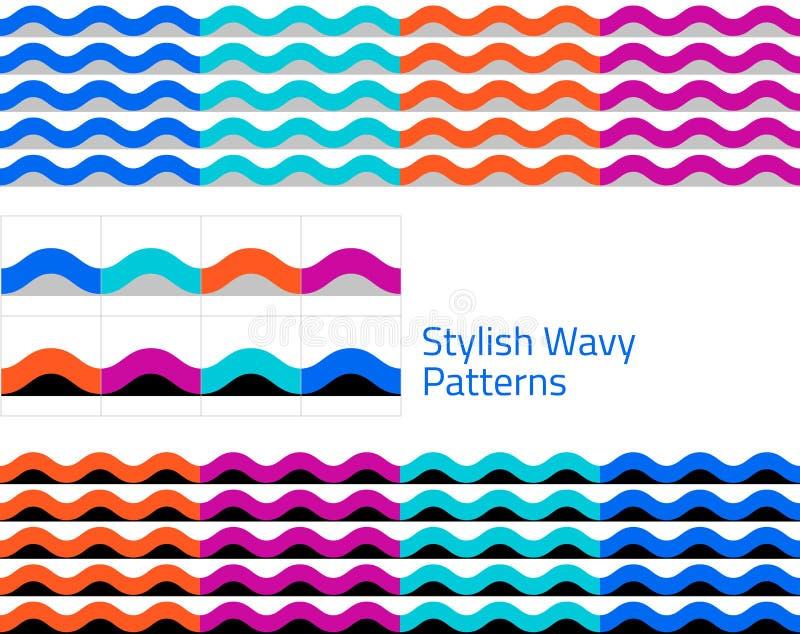 波浪-套几何无缝的样式 库存例证