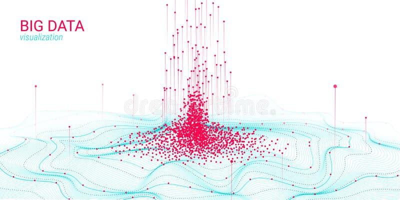 波浪3D大数据形象化 分析Infographic 库存例证