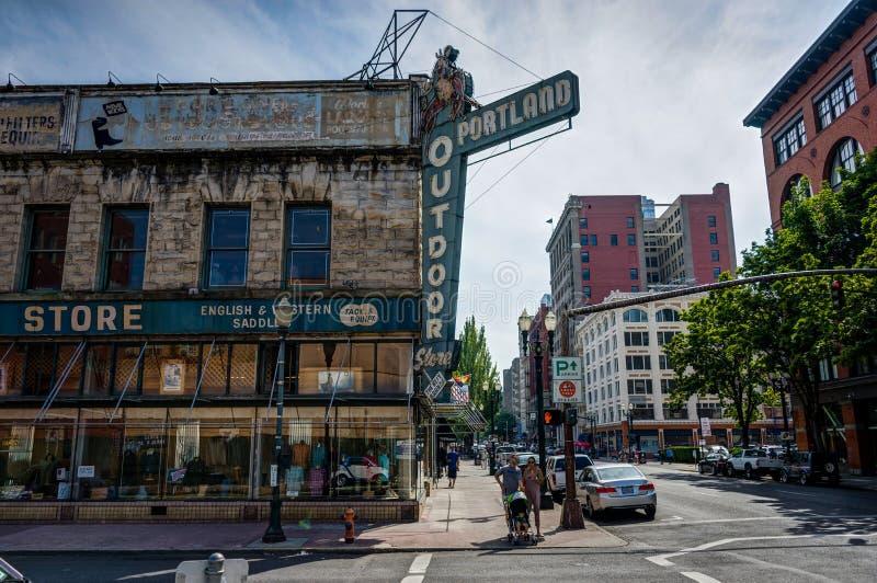 波特兰市视图在俄勒冈美利坚合众国 库存照片