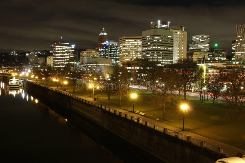 波特兰广场在晚上 免版税库存照片