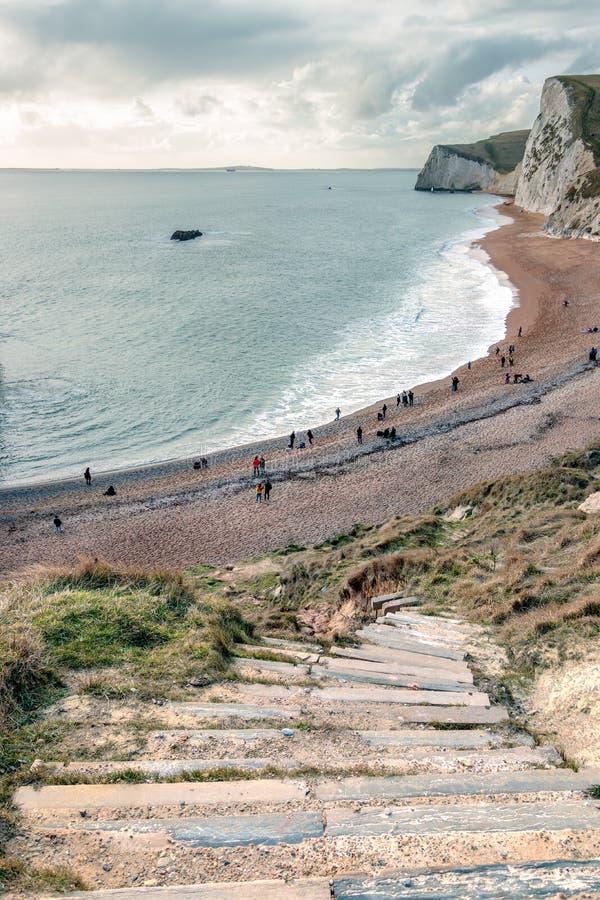 波特兰比尔, DORSET/UK - 2月16日:侏罗纪C的看法 库存照片