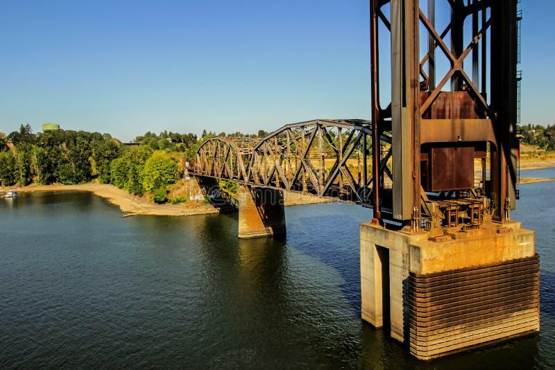 波特兰的铁路桥 免版税图库摄影