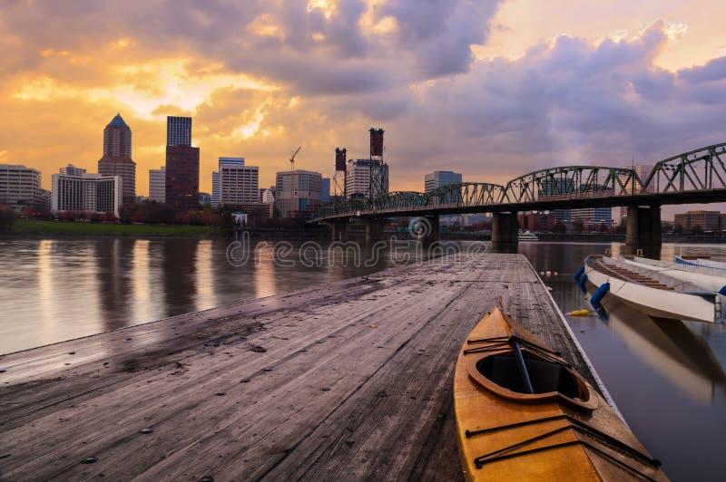 波特兰,俄勒冈,美国日落风景  免版税库存照片