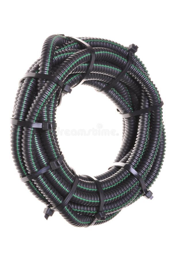波纹状的管道卷电缆的 免版税图库摄影