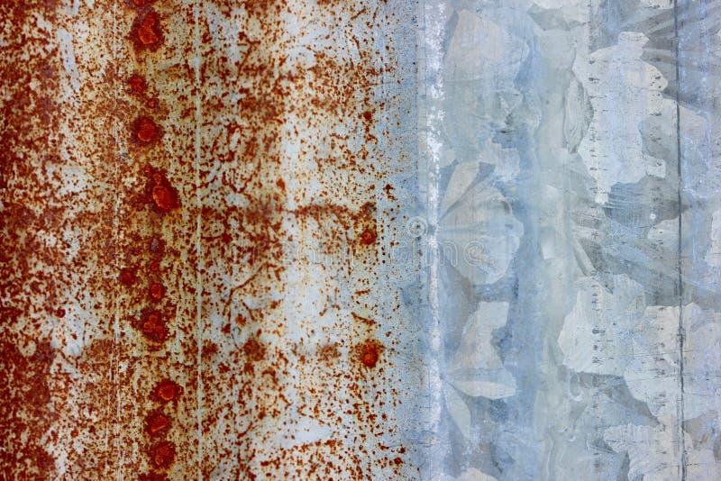 波纹状的金属生锈的宏观背景纹理 库存图片