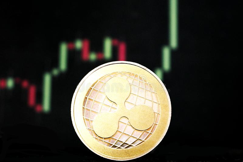 波纹-革命化数字付款的一新的cryptocurrency -与其他隐藏硬币的硬币 库存照片